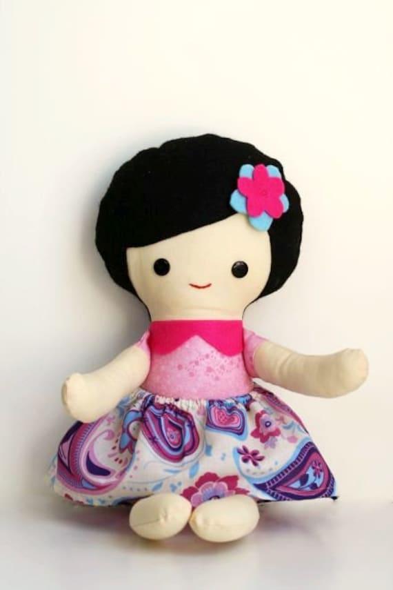 Scrappy girl - cloth rag doll - felt hair - soft toy