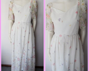 Vtg.70/80s White Pink Purple Daisy Floral Butterfly Chiffon Spring Maxi Dress.S.Bust 36.Waist 28.