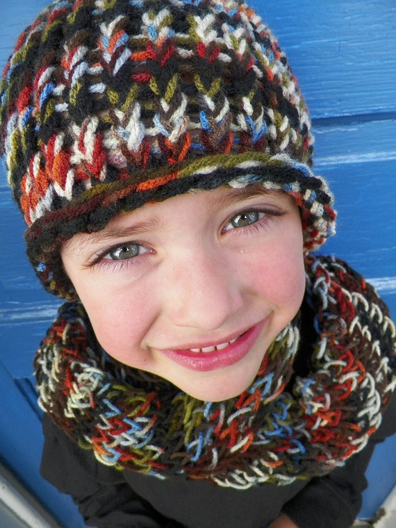 Young Boys Hat and Scarf Set, Knit, Multicolor, with Black, Brown, Blue, Orange, Olive Green and White