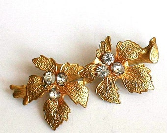 Russian Floral Brooch Pin - Glass Rhinestone Flowers and Leaves in Brass - 1970s - from Russia / Soviet Union / USSR