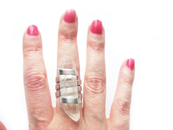 Natural Clear Quartz Crystal Ring