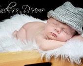 Crocheted Baby Fedora Hat- Handmade Fedora Hat- Newborn Boy Photo Prop- Crochet Cowboy Hat-