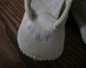 Vintage White Felt Baby Booties FREE SHIPPING