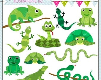 Rad Reptiles Cute Digital Clipart for Commercial or Personal Use, Reptile Clipart, Reptile Graphics