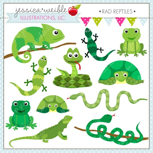 Rad Reptiles Cute Digital Clipart for Commercial or Personal