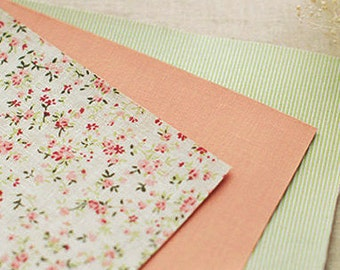 3 Set - Cozy Flower & Green Stripe Reform Fabric Stickers (A4)