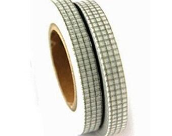 2 Set - Khaki Grid Check Adhesive Masking Tapes (0.3in)