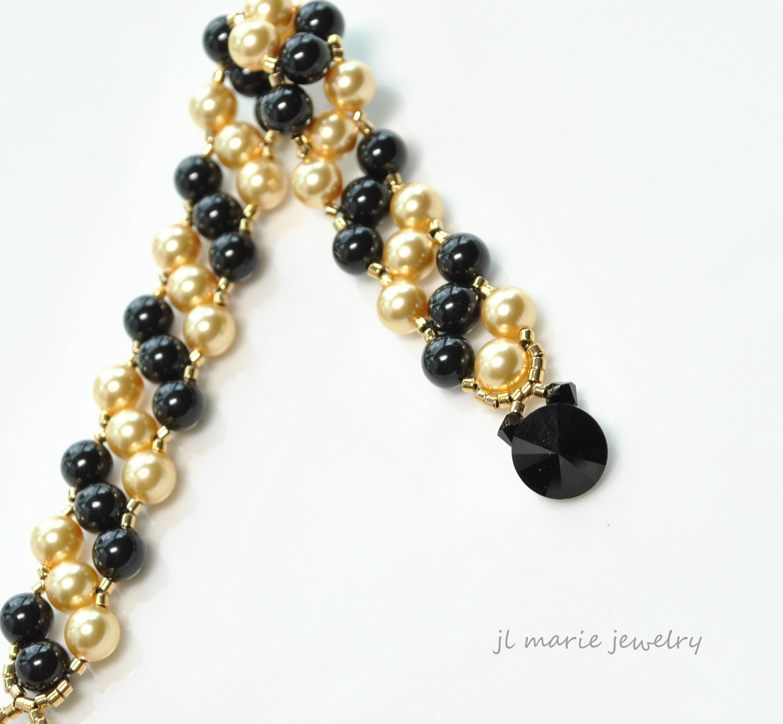 Black And Gold Pearl Bracelet Swarovski Black Crystal