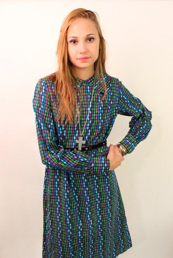 sale // sale // sale SECRETARIAT 60s Mod Geometric Large Collar Day Dress