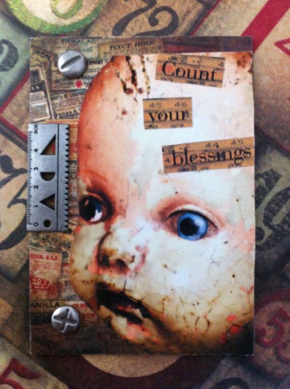 Annies Doll Another Altered Mixed Media 3d Artist Trading Card ACEO