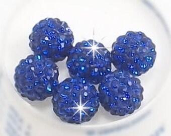10mm Blue Pave Disco Balls with Grade AA Rhinestones. (5)