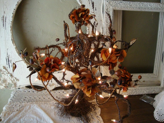 Elegant Fall Lighted Tree grapevine twig tree with antiqued bead garland autumn florals hydrangeas lighted spooky tree
