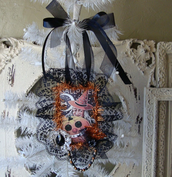 Halloween witch ornament mixed media Vintage style lace altered gift tags Home Decor vintage inspired Halloween Witch tag decoration