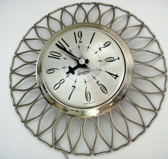 Mid Century Gold Metal Electric Wall Clock