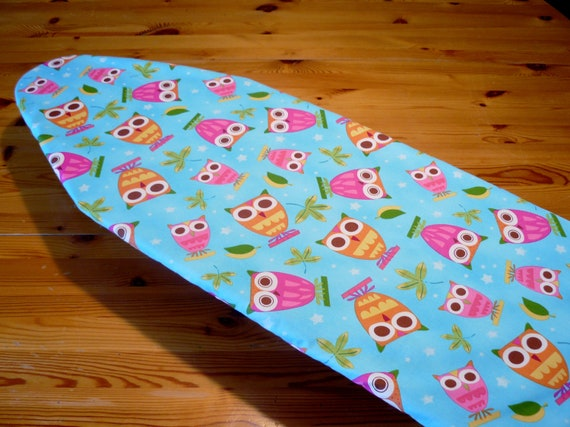 Ironing Board Cover bright aqua blue with cute pink and orange owls TABLE TOP
