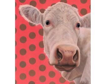 Cow Art - White Cow Print - Charolais Cow with Polka Dots - 12 x 16 Cow Print - Funny Animal Art - Ten Percent Benefits Animal Charity