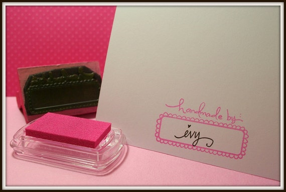 Handmade By Stamp on Pink Wooden Handle