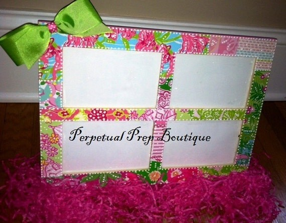 Lilly Pulitzer Print Four Picture Perfect Frame with bow
