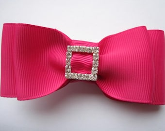 Shocking Pink Dior Tuxedo Hair Bow comes attached to a alligator clip or French Barrette