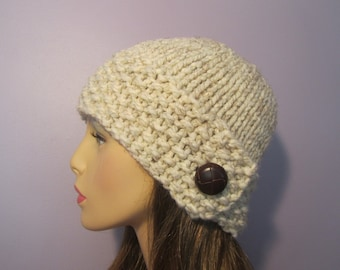 Custom Order Knit Hat - Pick Your Color Knit Hat with Genuine Leather Button