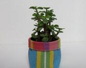 fabric flowerpot basket succulent planter, pink blue yellow stripes