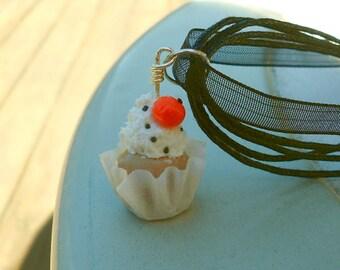 Polymer Clay Pumpkin Cupcake Necklace