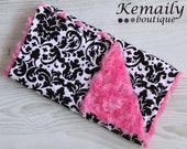 Rosa Classico Damask On Hot Pink Rosette Minky Burp Cloth From Kemaily