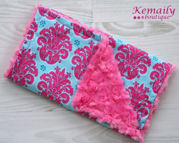 Gorgeous Hot Pink & Blue Solaria Medallion Minky Burp Cloth - Baby Shower - Gift - Newborn - Feeding - Nursing - New Mom - Essentials