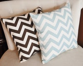 TWO STUFFED Chevron Pillows -Choose Your Own Colors- Zig Zag 14 x 14