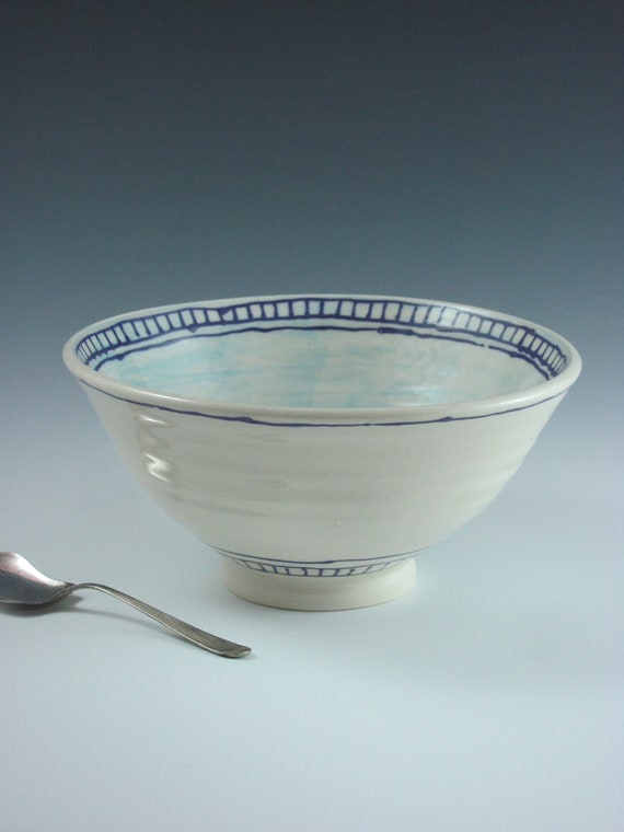 Ceramic Bowl White and Blue Hand Painted and Wheelthrown, Handmade by Licia Lucas Pfadt