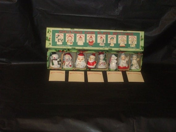 Vintage Japan Box Christmas COMMODORE Place Card Holders