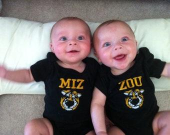 Mizzou Bodysuits for Twins