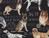 K 9 Rescue Hero Dogs I Spy Golden Shepard Bernese Collie Husky Fabric By the Fat Quarter Black or Olive