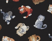 Cat Nap I Spy Sleepy Cats Tossed Fabric  By the Fat Quarter  BTFQ