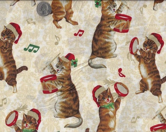 Joy of Christmas Caroling Cat I Spy Cats Glitter Quilt Fabric By the Fat Quarter  BTFQ LAST