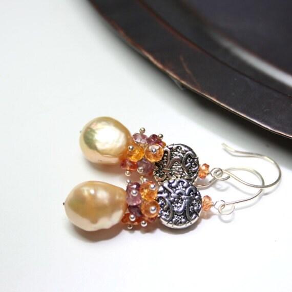 Gemstone Earrings Dangle Baroque Freshwater Pearl Padpardscha Sapphire Plum Spinel Sterling Silver Handmade Wire Wrapped Earrings