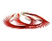Poppy Red, Hoop Earrings, Spiked Feather Hoops
