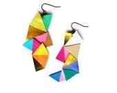 Neon Geometric Earrings Color Block Triangles