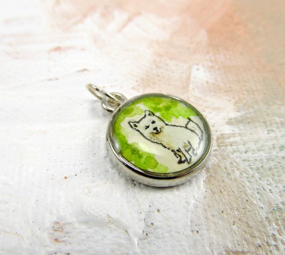 Woodland Art Bracelet Charm -- White Fox --  Watercolor Painting -- 30% Off