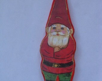 Handcrafted Red Gnome Ornament, Papier-mache