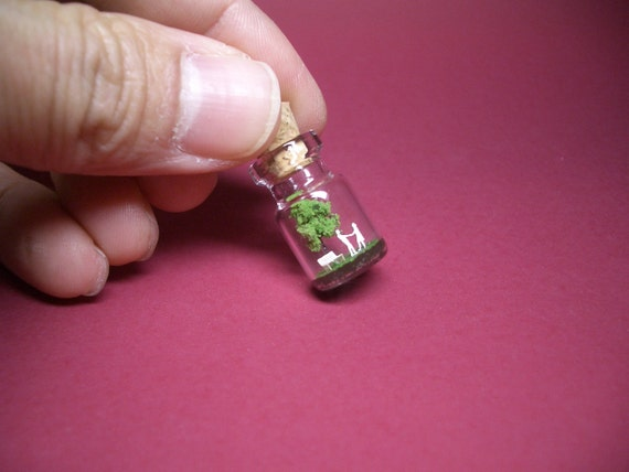 Tiny green tree and a couple in a tiny bottle ver.4 -new design-