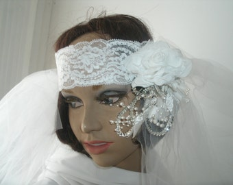 Flapper style  1920 white bridal headpiece and veil