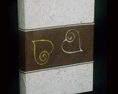 Handmade photo album brown batik paper with golden hearts ethnic style original gift for boyfriends