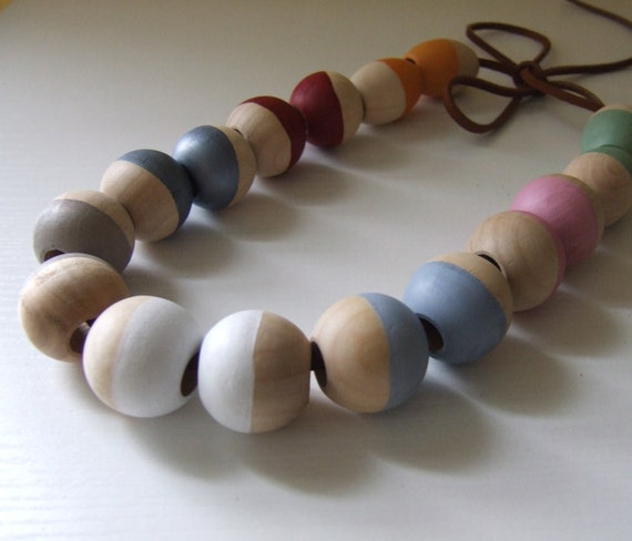 Travel Bead Lacing Game in Wood and Leather by mimiandlu
