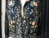 Vintage Silk Jacket with quilted lining Embroidered Flowers & Birds Asian Influence