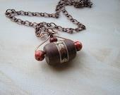 Geometric Chevron Necklace Wood Copper