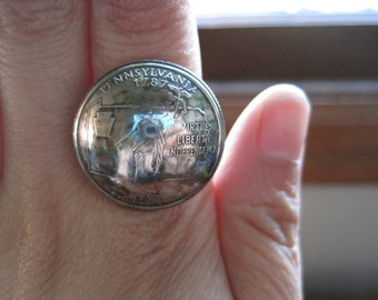 Domed Pennsylvania Quarter Statement Ring with Sterling Silver Band MADE TO ORDER.