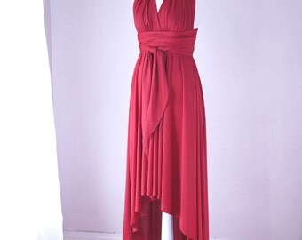 Sample Sale - Convertible/Infinity Dress with High Low Hem in Red - Size S/M