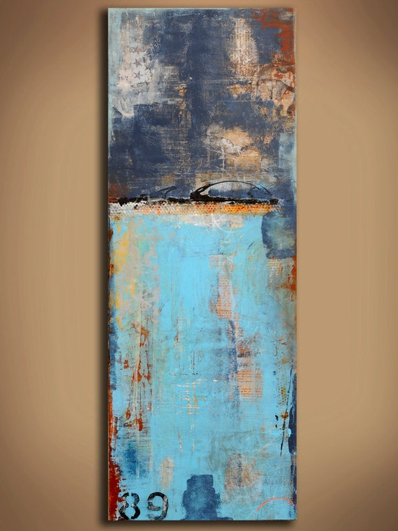 Large Painting  Abstract mixed media on wood