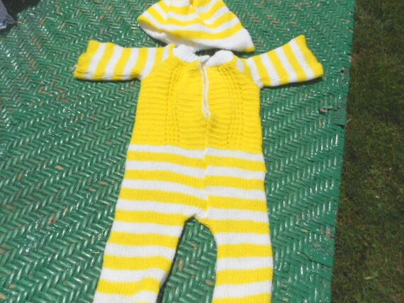 80's Girl's Toy Yellow and White Striped Handmade Knit Doll Clothes